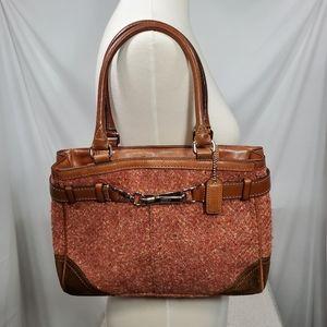 Coach Hamptons Herringbone Tweed Leather Bag